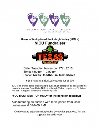Moms of Multiples of the Lehigh Valley NICU flyer Texas Roadhouse Nov 17 2015(1)_001